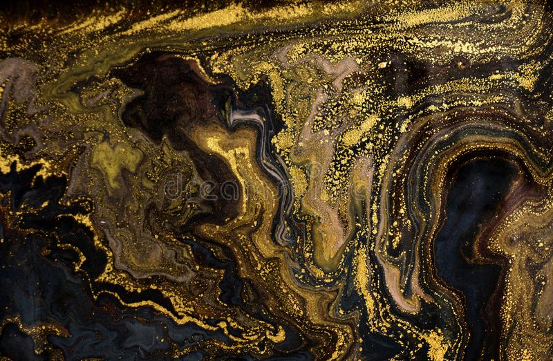 Marmeren abstracte acrylachtergrond De textuur van het marmeringskunstwerk Het patroon van de agaatrimpeling Gouden poeder stock afbeelding