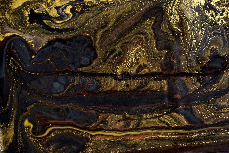 Marmeren abstracte acrylachtergrond De textuur van het marmeringskunstwerk Het patroon van de agaatrimpeling Gouden poeder royalty-vrije stock afbeeldingen