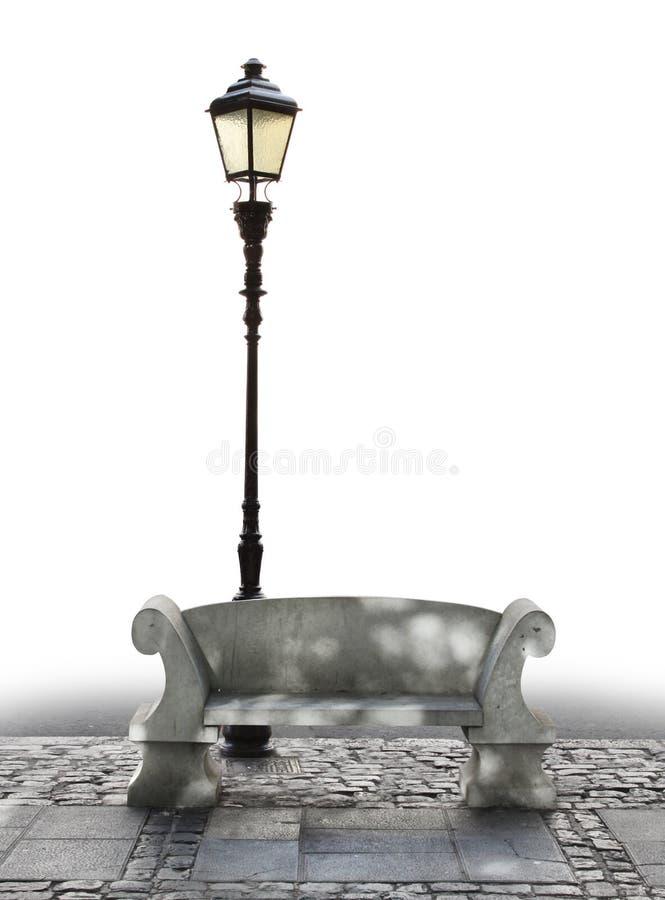 Marmeren bank en straatlantaarn royalty-vrije stock afbeeldingen