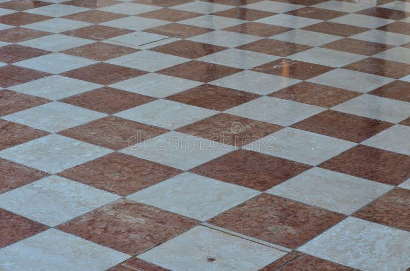 Marmeren bestrating, schaakbordvorm, Palmanova, Friuli Venezia Giu stock fotografie