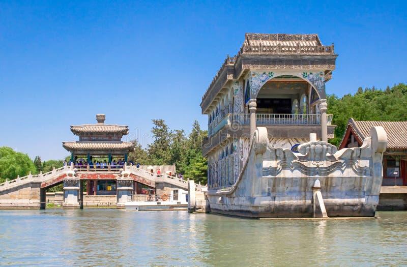 Marmeren die Boot ook als de Boot van Zuiverheid en Gemak in de Zomerpaleis wordt bekend, Peking, China royalty-vrije stock afbeelding