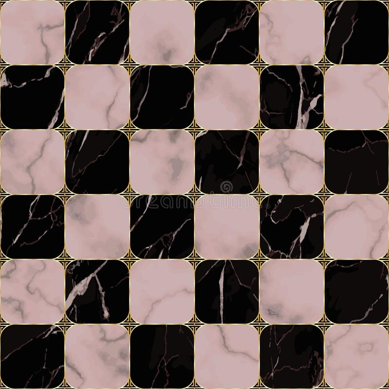 Marmeren en Gouden Aziatisch Geometrisch Naadloos Patroon stock illustratie