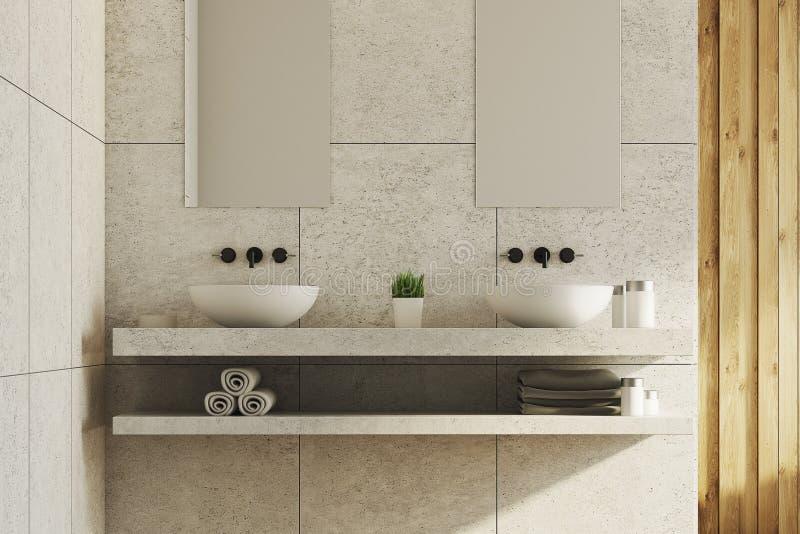 Marmeren en houten badkamers, gootstenen stock illustratie