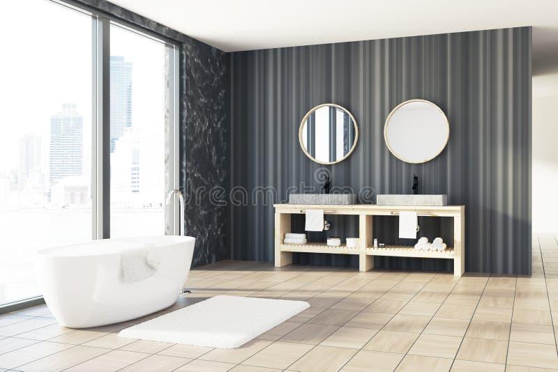 Marmeren en houten badkamers, witte ton, gootsteen vector illustratie