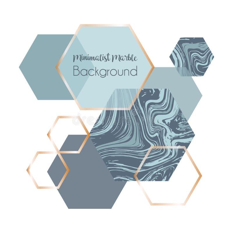 Marmeren geometrische affichemalplaatje of achtergrond in in minimalistische stijl met hexagon steen, stock illustratie