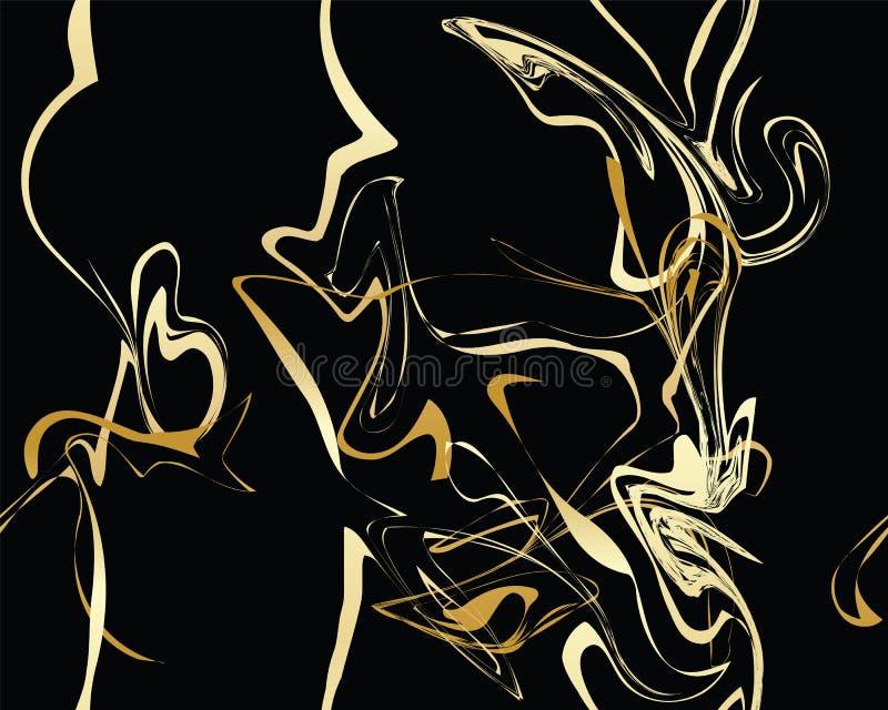 Marmeren Gouden textuur naadloos patroon stock illustratie