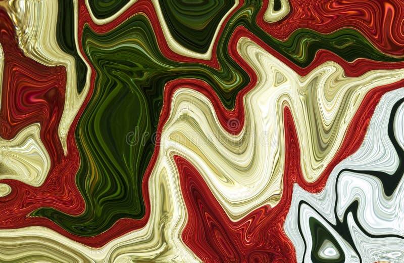 Marmeren kleurrijke inkt Multikleuren marmeren patroon van het mengsel van krommen stock illustratie