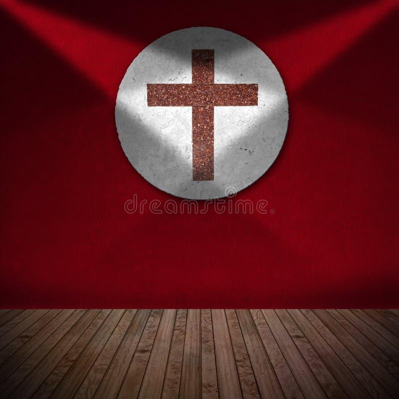 Marmeren Kruis in Rode Zaal - Godsdienstige Achtergrond stock illustratie