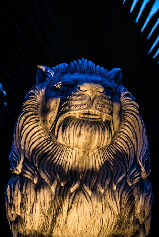 Marmeren leeuw bij nacht stock afbeeldingen