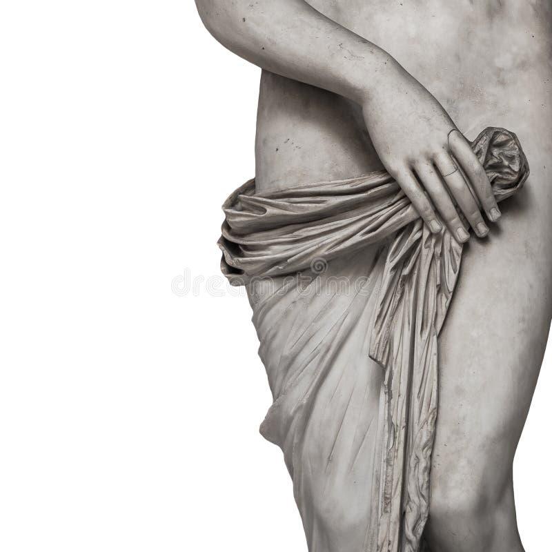 Marmeren lichaamslijnen van jonge naakte Roman vrouw bij witte achtergrond royalty-vrije stock foto