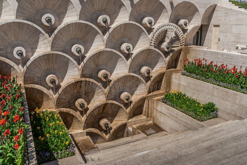 Marmeren monument in Sovjetstijl in Yerevan stock afbeelding