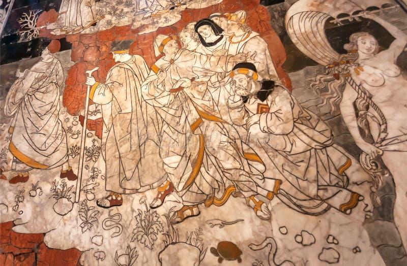 Marmeren mozaïekvloer van 14de eeuw Cattedrale Santa Maria Fiore, Florence Allegorie van het Onderstel van Wijsheid, kunstwerk stock afbeelding