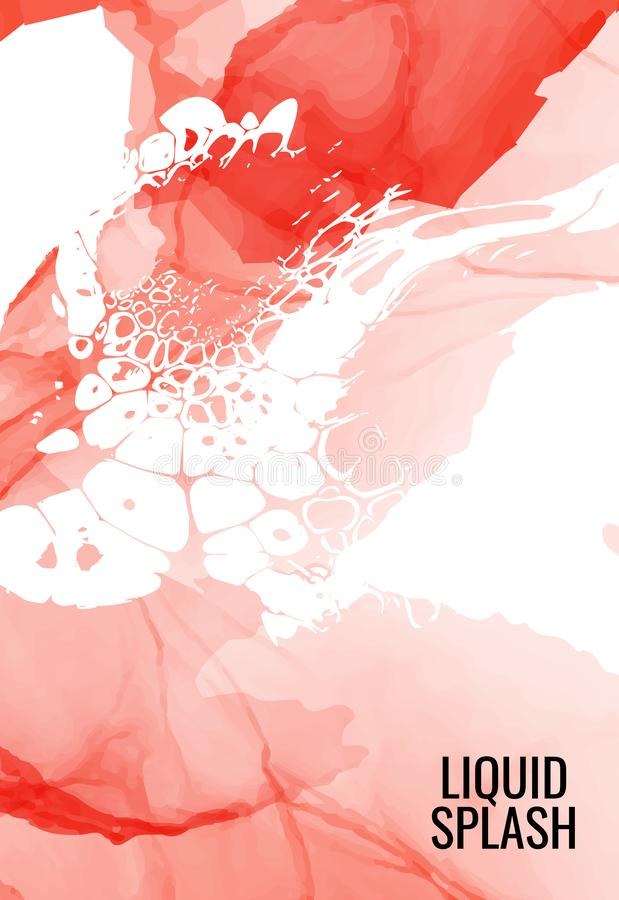Marmeren rode Moderne textuur in tegenstelling dynamische kleur De plons van de alcoholinkt met geïsoleerde witte vloeibare stroo stock illustratie