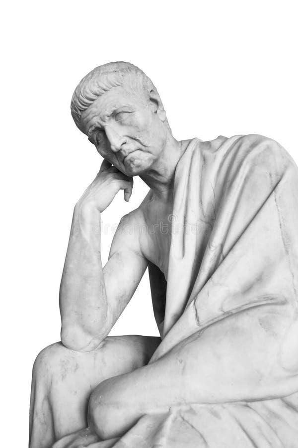Marmeren standbeeld met het oude mens denken royalty-vrije stock foto's