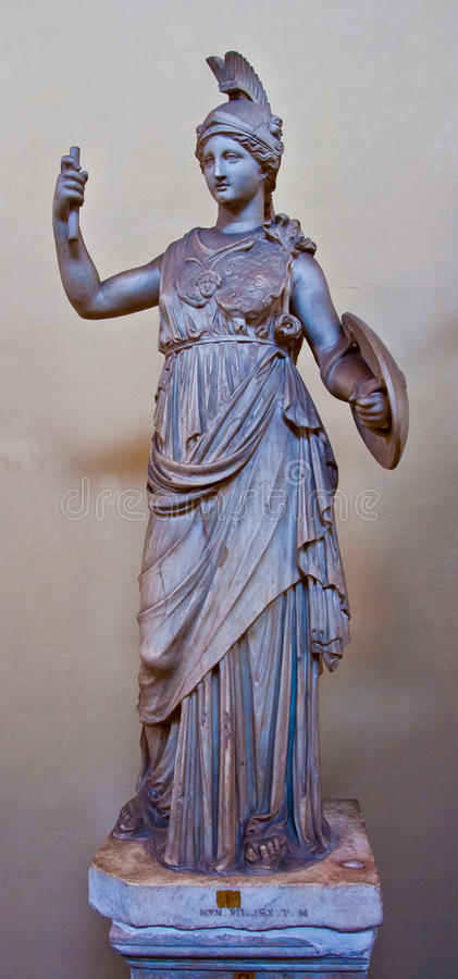 Marmeren standbeeld van Athena stock afbeelding