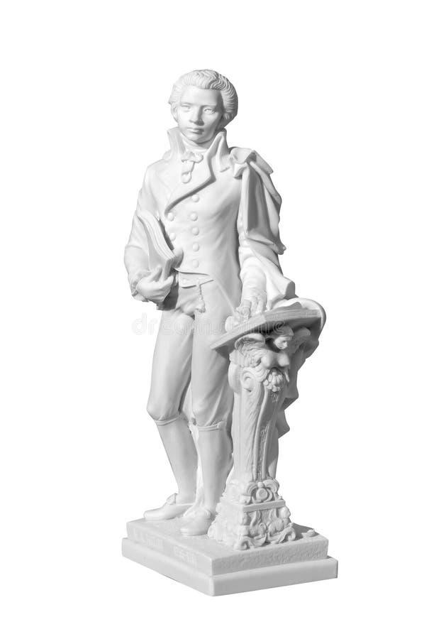 Marmeren standbeeld van een mens op een witte achtergrond royalty-vrije stock fotografie
