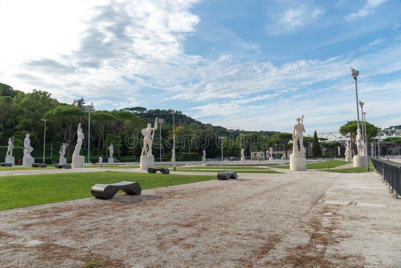 Marmeren standbeelden in Foro Italico, Rome royalty-vrije stock foto's