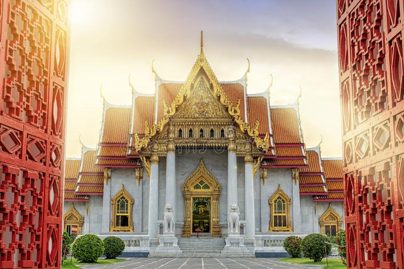 Marmeren Tempel van Bangkok, Thailand De beroemde marmeren tempel Ben stock foto's