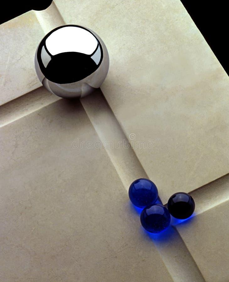 Marmi e cuscinetto a sfere di vetro fotografie stock