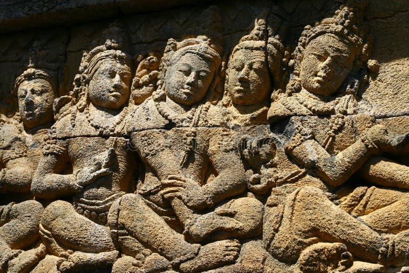 Marmi sulla parete in Borobudur fotografia stock libera da diritti
