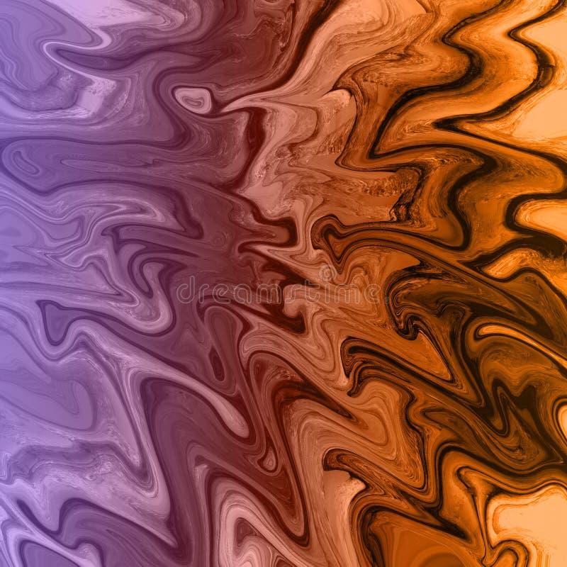 marmo dell'oro e fondo astratto liquido con le strisce della pittura a olio illustrazione vettoriale