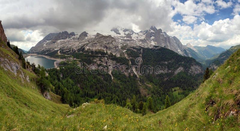 Marmolada Fedaia i lago, Włochy fotografia stock