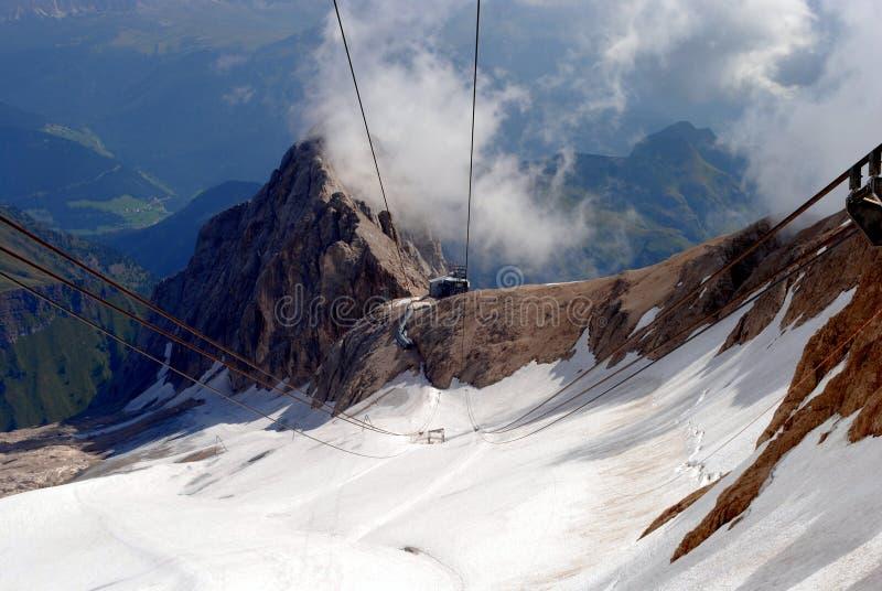 Marmolada lift, italian mountain Dolomi stock photography