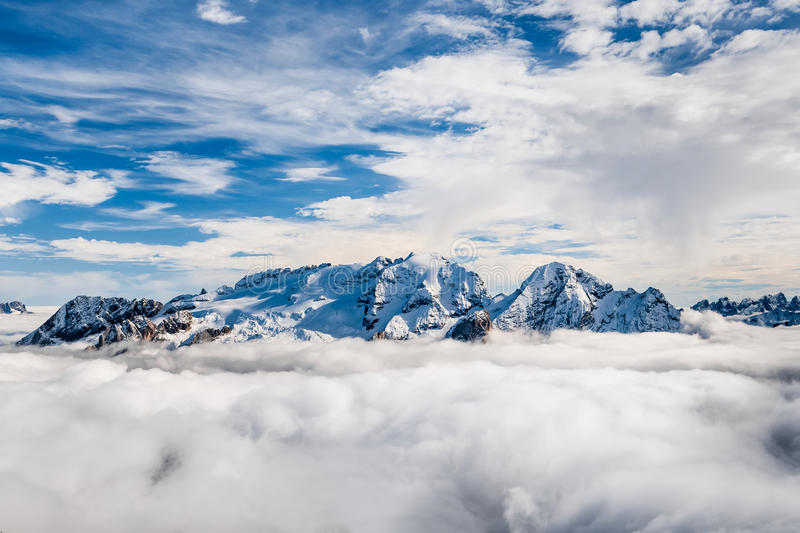 Marmolada summit in Dolomites in winter stock photography