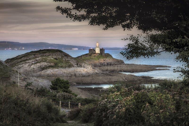 Marmonne la baie Pays de Galles R-U de Swansea de phare photos libres de droits