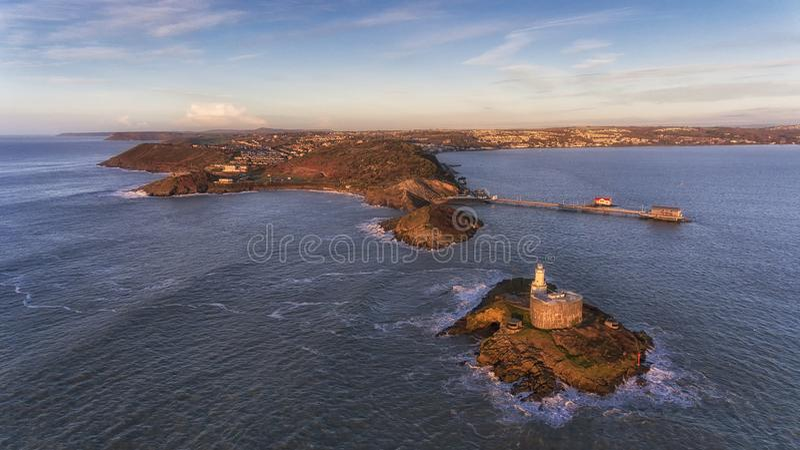 Marmonne le phare à Swansea image libre de droits