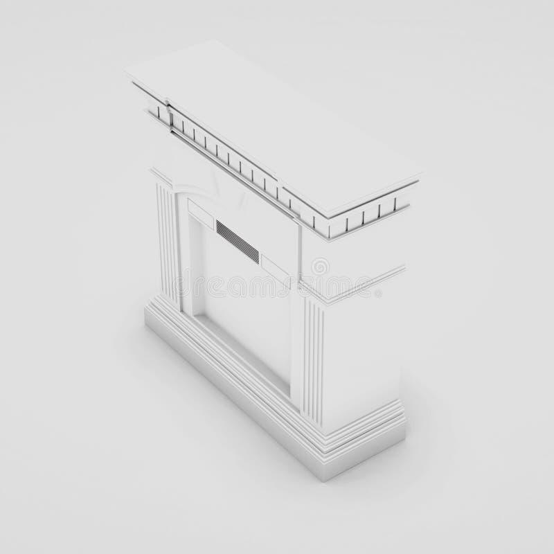 Marmor-, klassischer Kamin 3d übertragen lizenzfreie abbildung