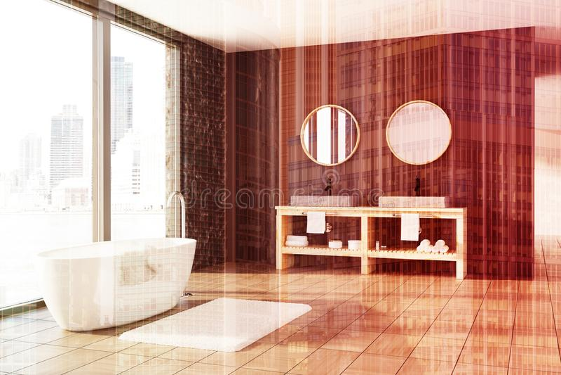 Marmor och träbadrummet, vit badar, sjunker tonat vektor illustrationer