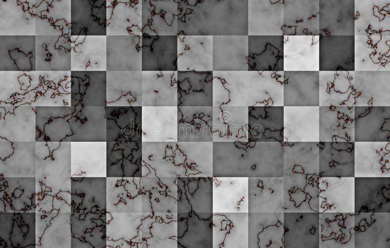 Marmor som textureras med geometriska fyrkantiga kvarter för lutning Naturliga svarta och guld- virvlar och krusningar på grå fär vektor illustrationer