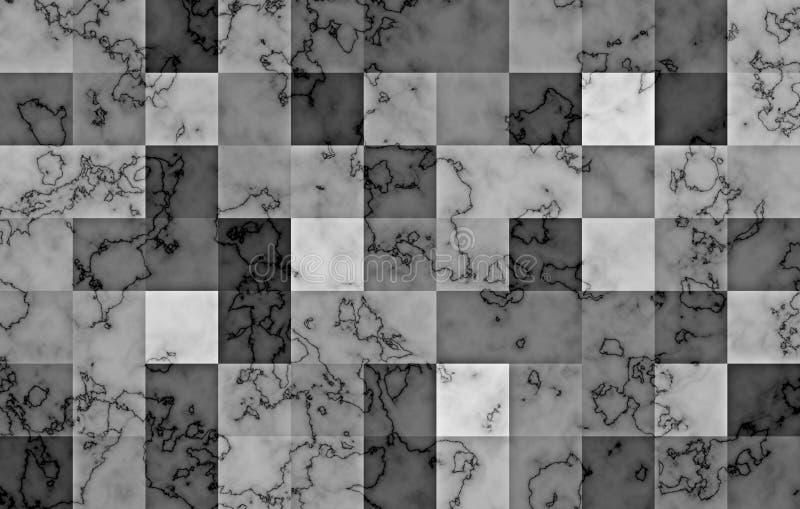 Marmor som textureras med geometriska fyrkantiga kvarter för lutning Naturliga svarta och silvervirvlar och krusningar på grå fär vektor illustrationer