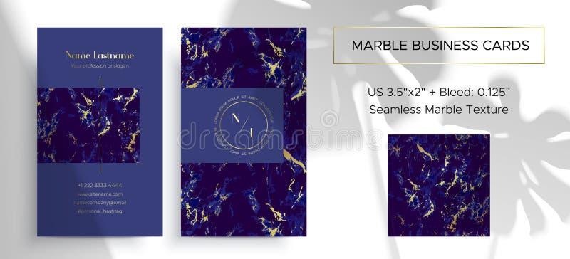 Marmoraffärskort 2 sidor Lyxig design royaltyfri illustrationer
