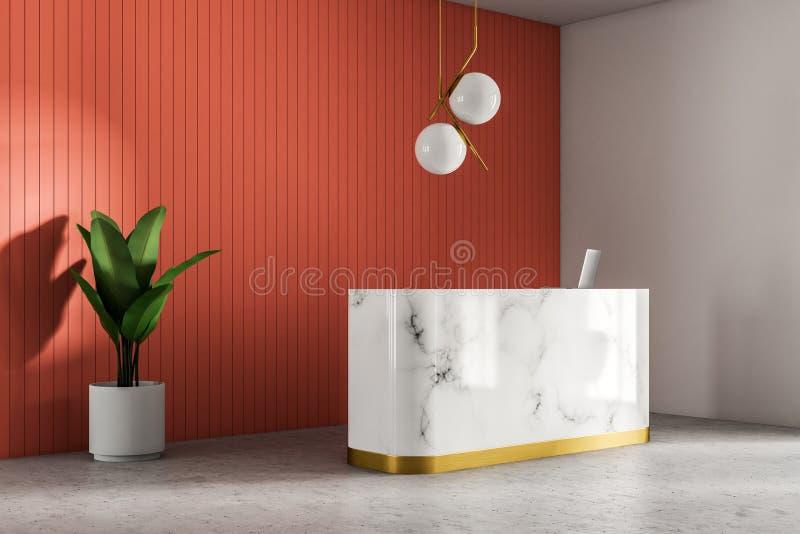 Marmoraufnahme in der roten Wandbüroecke lizenzfreie abbildung