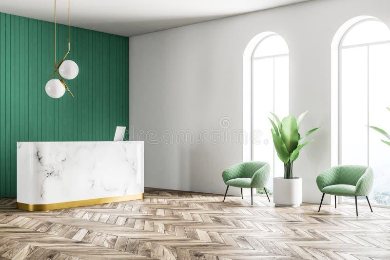 Marmoraufnahme in der Seitenansicht des grünen Wandbüros lizenzfreie abbildung