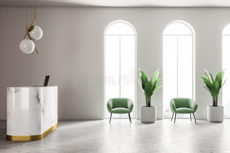 Marmoraufnahme in der weißen Wandbüroecke lizenzfreie abbildung