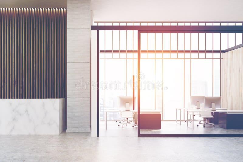 Marmoraufnahme und offenes Büro, getont stock abbildung