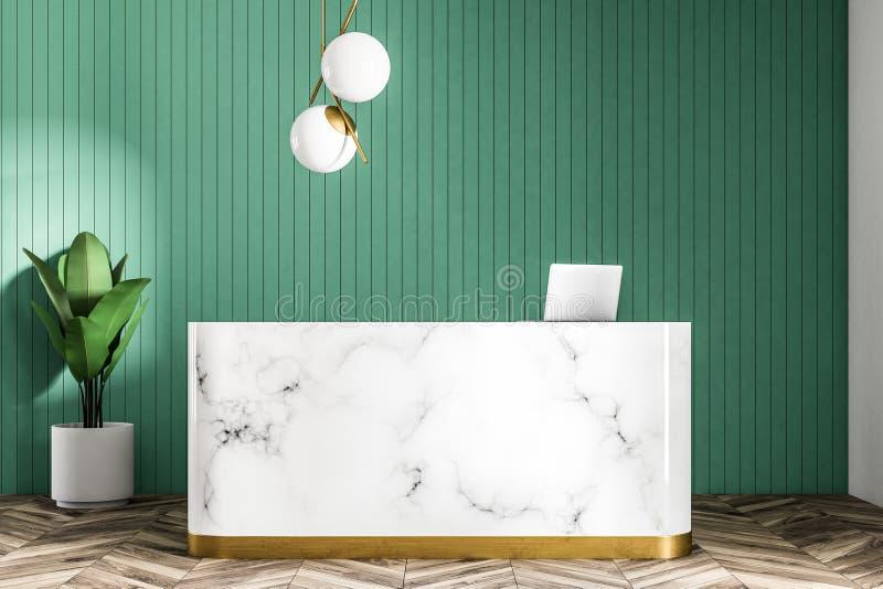 Marmoraufnahmetabelle im grünen Wandbüro lizenzfreie abbildung