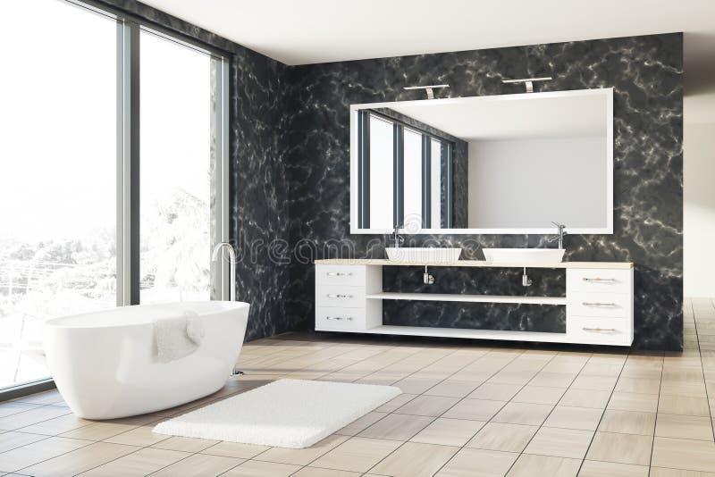 Marmorbadrummet, vit badar, sjunker royaltyfri illustrationer