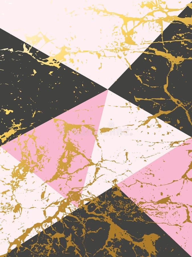 Marmorbeschaffenheitsentwurf mit goldenen geometrischen Dreiecken, marmornde Oberfläche, Luxushintergrund vektor abbildung
