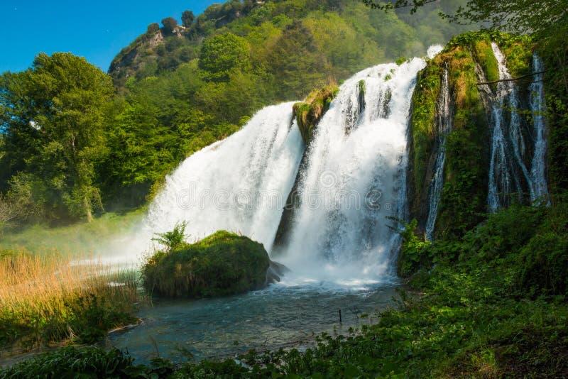 Marmore ` s瀑布在翁布里亚 免版税库存图片