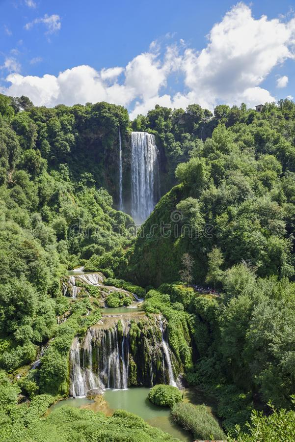 Marmore waterfalls. Beautiful and powerful waterfalls. The highest in Europe. Umbria Italy stock photo