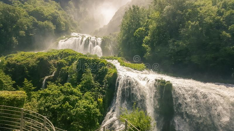 Marmore waterfalls and swift river in Umbria in Italy.  royalty free stock image