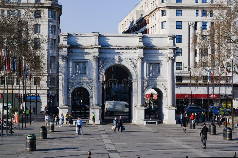 Marmoreie o arco Arco triunfal, arco do triunfo, Londres, Inglaterra fotos de stock