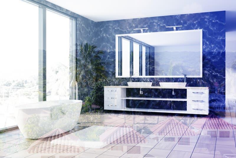 Marmorera badrummet, vit badar, sjunker tonat royaltyfri illustrationer