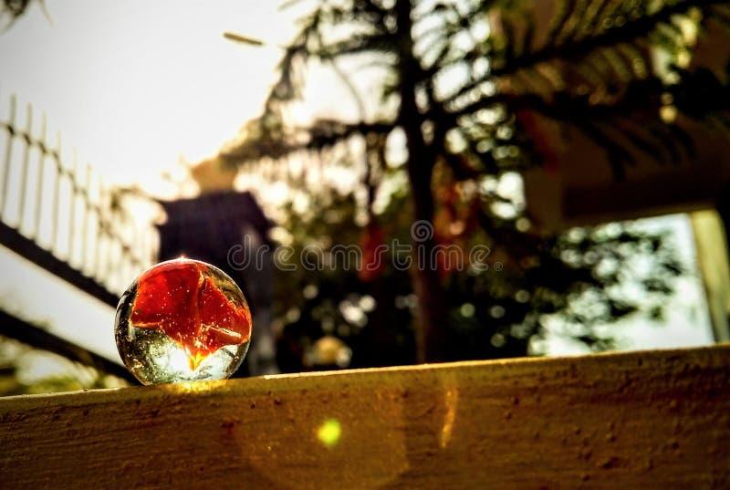 Marmorera bollen i solstrålarna arkivbild