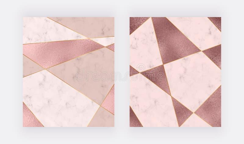 Marmorera den geometriska designen med rosa färger och steg guld- triangulär folietextur, guld- polygonal linjer Modern bakgrund  stock illustrationer