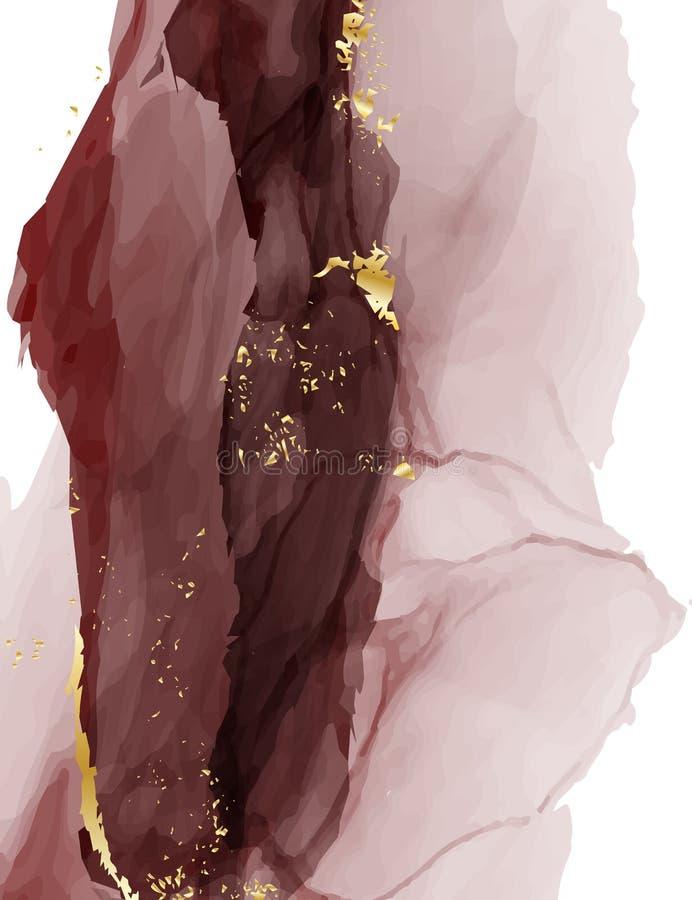Marmorera mörkt - röd bakgrund för vattenfärgbröllopinbjudan Design för vektorkontrasttextur för Thank dig kort, RSVP-kort vektor illustrationer